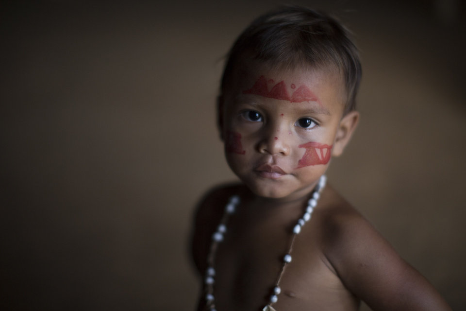 Photo - In this May 19, 2014 photo, an Indian boy poses for a photo in the Tatuyo indigenous community near Manaus, Brazil. A World Cup host city, Manaus' far-flung location in the heart of the world's biggest rainforest makes it reachable only by plane or boat. where indigenous peoples live in thatched-roof villages carved out of the forest, and the riverbanks are lined with floating houses.  (AP Photo/Felipe Dana)