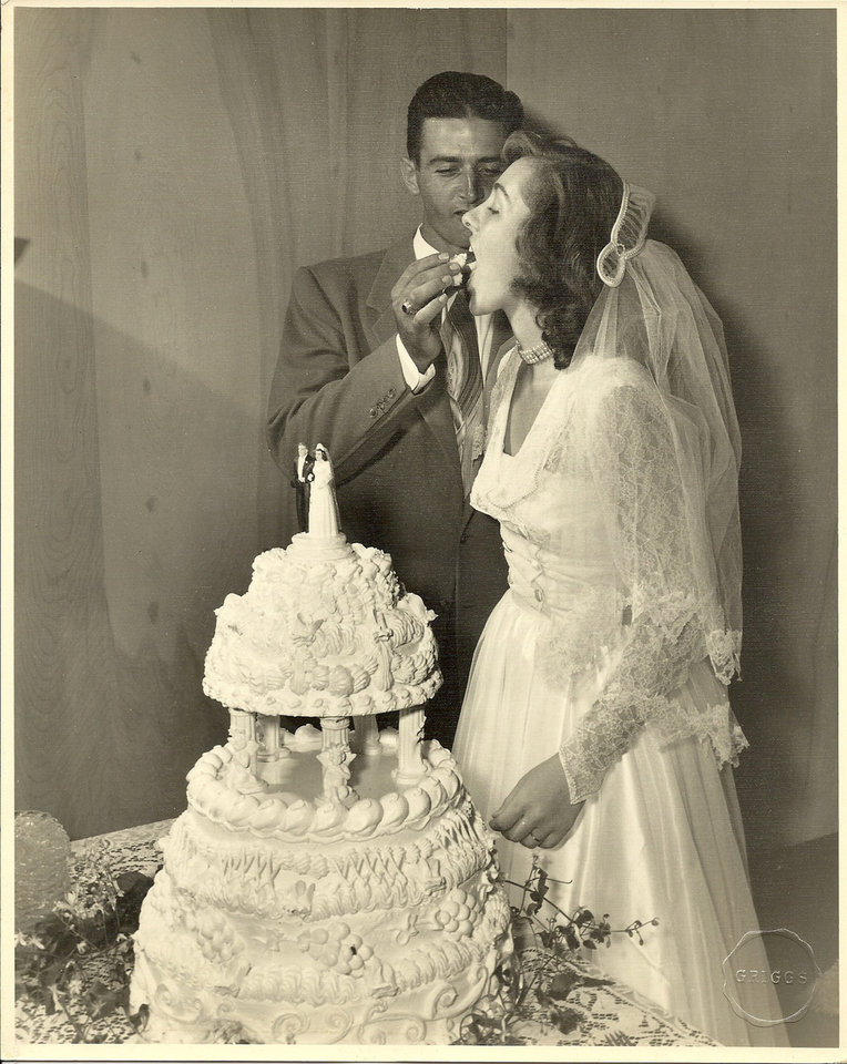 Photo -  Bottom left: Bob and Barbara Pettis share cake on their wedding day, Sept. 1, 1951. Photos provided