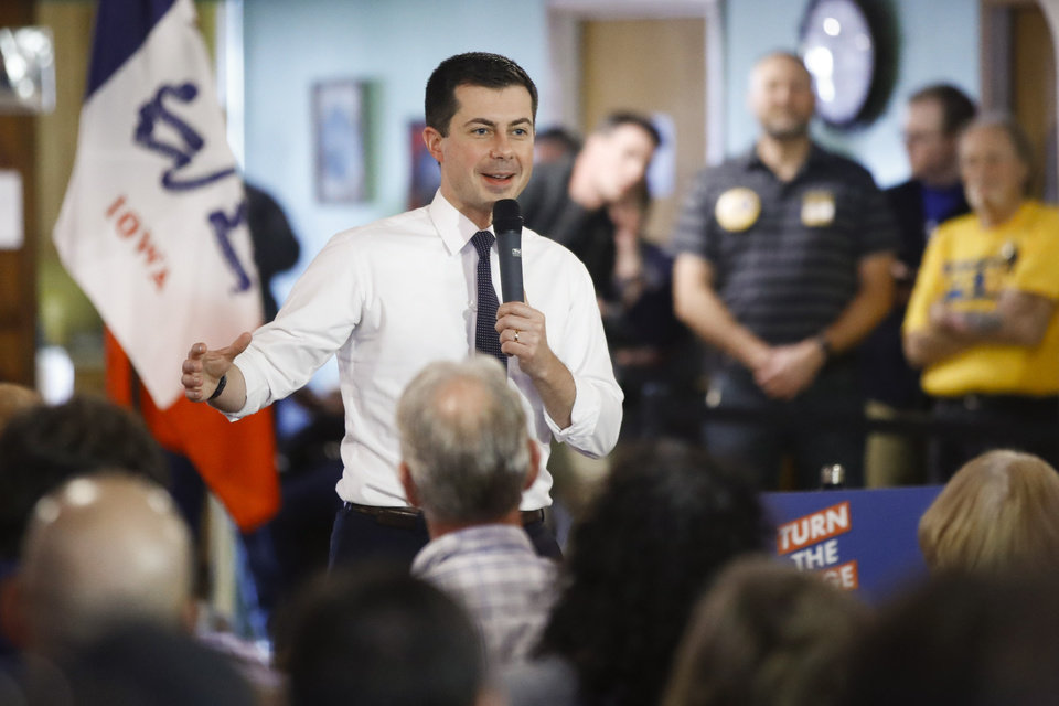 Photo - Democratic presidential candidate former South Bend, Ind., Mayor Pete Buttigieg speaks during a campaign event, Saturday, Feb. 1, 2020, in Oelwein, Iowa. (AP Photo/Matt Rourke)