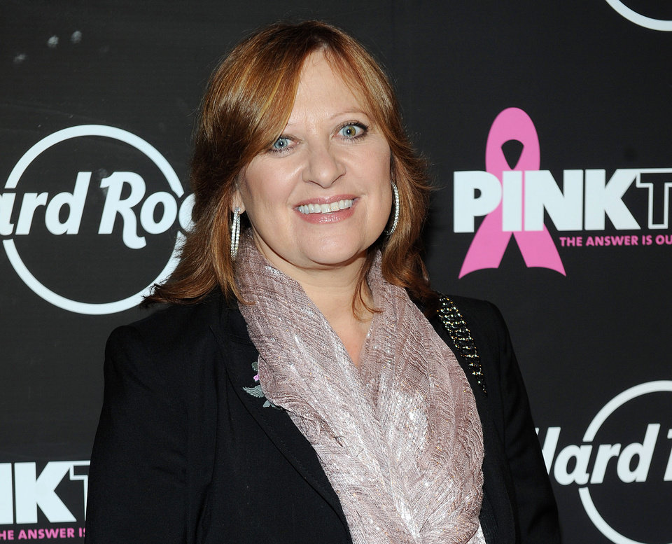 "FILE - This Oct. 2, 2012 file photo originally released by Hard Rock shows TV personality Caroline Manzo at the 13th Annual Pinktober Breast Cancer Awareness Campaign at Hard Rock Cafe in New York. Manzo's latest book, ""Let Me Tell You Something: Life as a Real Housewife, Tough-Love Mother, and Street-Smart Businesswoman,"" was released on Tuesday, March 26. (AP Photo/Hard Rock, Scott Gries)"