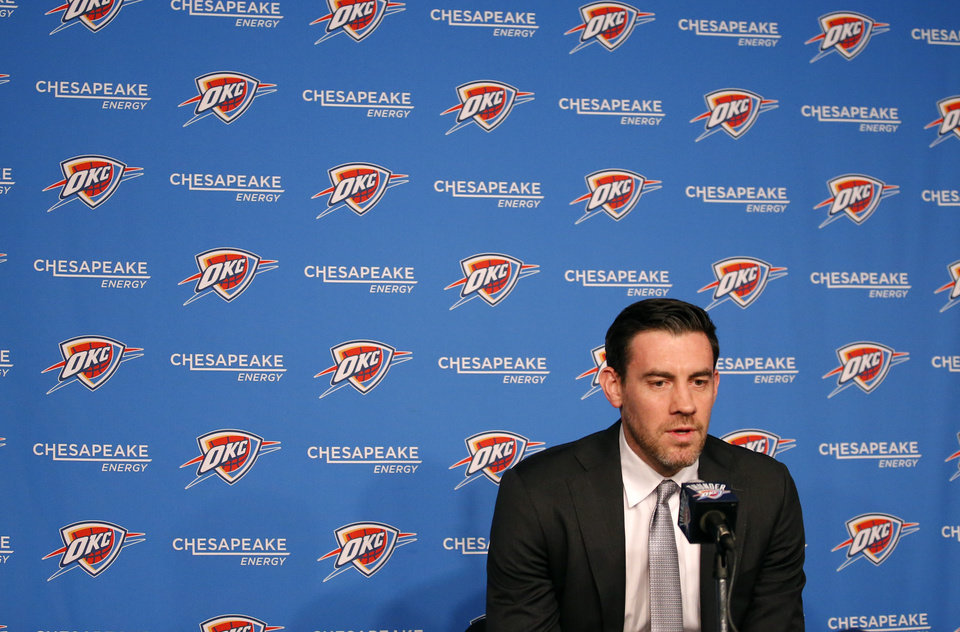 Photo - Nick Collison speaks to the media before the NBA basketball game between the Oklahoma City Thunder and the Toronto Raptors at the Chesapeake Energy Arena, Wednesday,March 20, 2019. Photo by Sarah Phipps, The Oklahoman