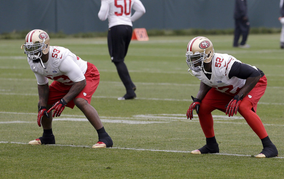 Photo - San Francisco 49ers linebackers NaVorro Bowman (53) and Patrick Willis (52) practice at an NFL football training facility in Santa Clara, Calif., Wednesday, Jan. 23, 2013. The 49ers are scheduled to play the Baltimore Ravens in Super Bowl XLVII on Sunday, Feb. 3. (AP Photo/Jeff Chiu)
