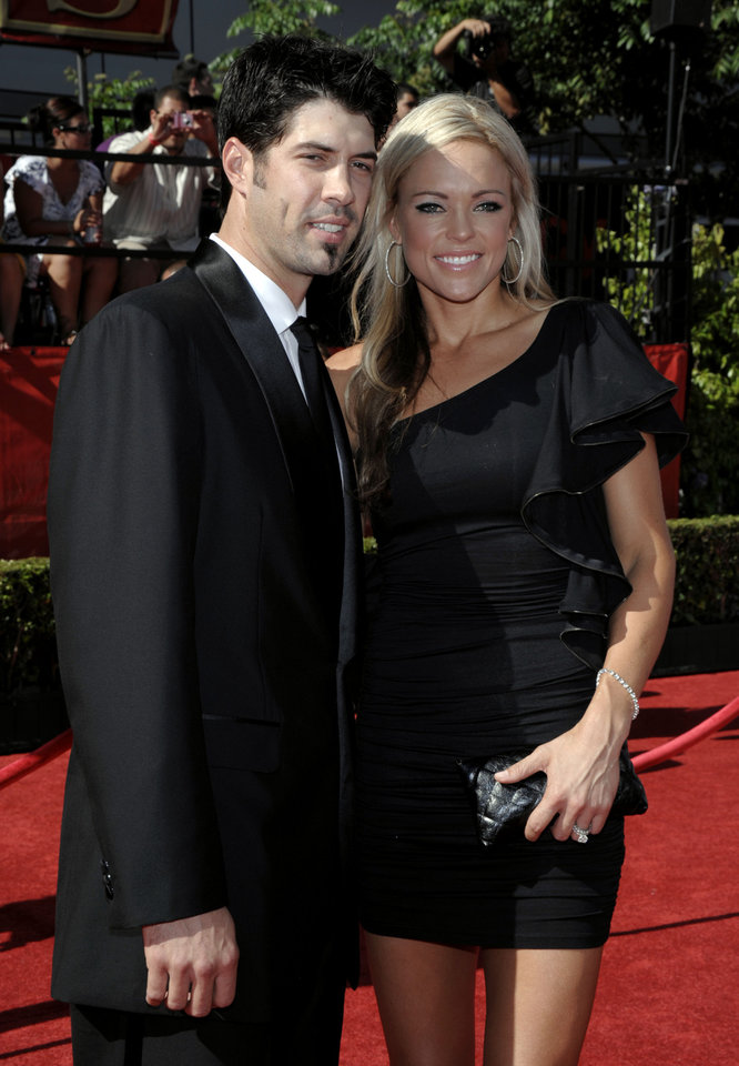 Photo - Jennie Finch, right, and Casey Daigle arrive at the ESPY Awards on Wednesday, July 14, 2010 in Los Angeles. (AP Photo/Dan Steinberg)