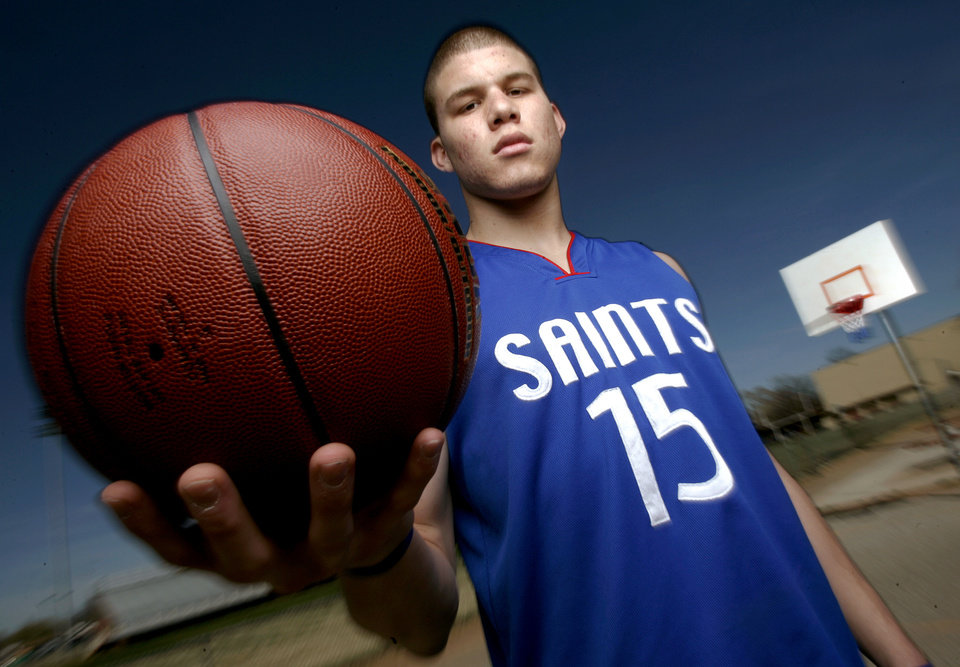 Blake Griffin of Oklahoma Christian poses for the super five / all-state basketball at Putnam City Central Middle School, March 30, 2006.  By Bryan Terry