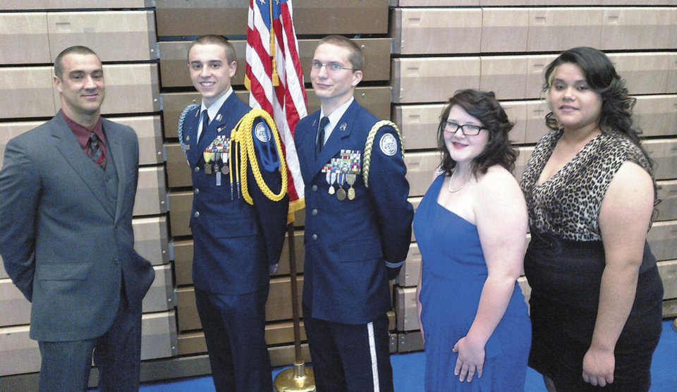 Photo - David Reid, Cadet Col. Alex Oliver, Cadet Lt. Col. Chaz Richards, Cadet Maj. Serena Lounge, Cadet Senior Master Sgt. Raquel Barrios. PHOTO PROVIDED