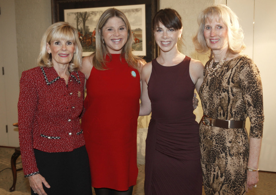 As chairman of Thursday's Juliette Low Leadership Society luncheon, Myrla Pierson, left and Anne Gray, far right, host luncheon speakers Jenna Bush Hager and Barbara Pierce Bush, center from left, during a reception for the twin daughters of President George W. Bush. PHOTO BY PAUL HELLSTERN, THE OKLAHOMAN.   <strong>PAUL HELLSTERN</strong>