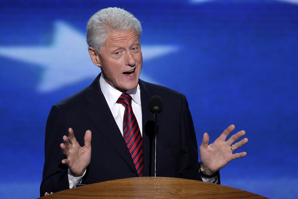 Photo - Former President Bill Clinton addresses the Democratic National Convention in Charlotte, N.C., on Wednesday, Sept. 5, 2012. (AP Photo/J. Scott Applewhite)  ORG XMIT: DNC177