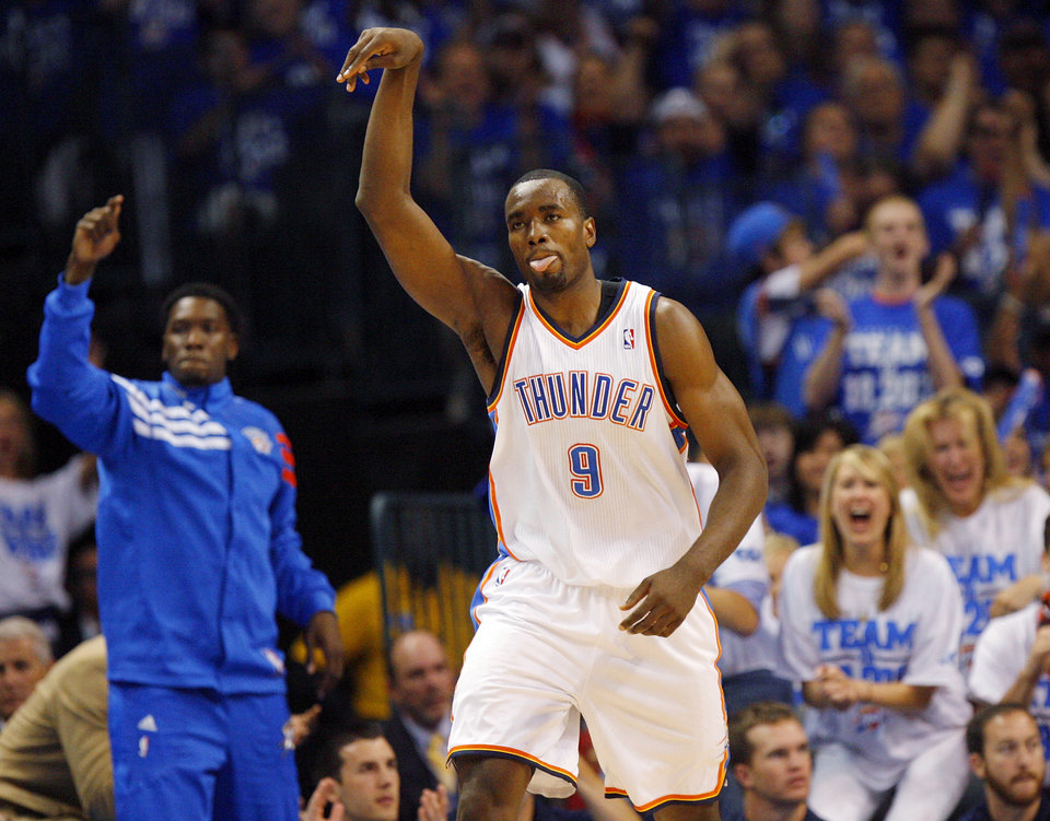 Photo - Oklahoma City's Serge Ibaka (9) reacts after hitting a shot in the first half during Game 4 of the Western Conference Finals between the Oklahoma City Thunder and the San Antonio Spurs in the NBA playoffs at the Chesapeake Energy Arena in Oklahoma City, Saturday, June 2, 2012.  Photo by Nate Billings, The Oklahoman