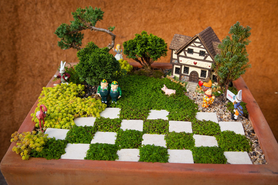 "From ""Fairy Gardening"" by Julie Bawden-Davis and Beverly Turner, this fairy garden is inspired by Alice in Wonderland. Photo provided."