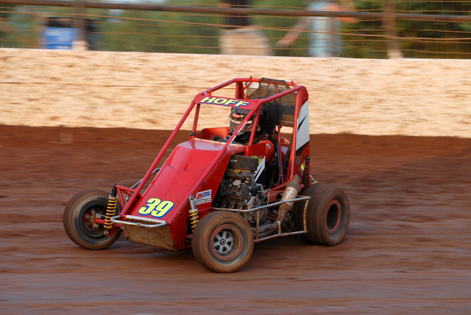 Sterling Hoff pilots his car during Non-Wing Micro action during night one of the Mini-Sprint Summer Nationals at I-44 Riverside Speedway in Oklahoma City