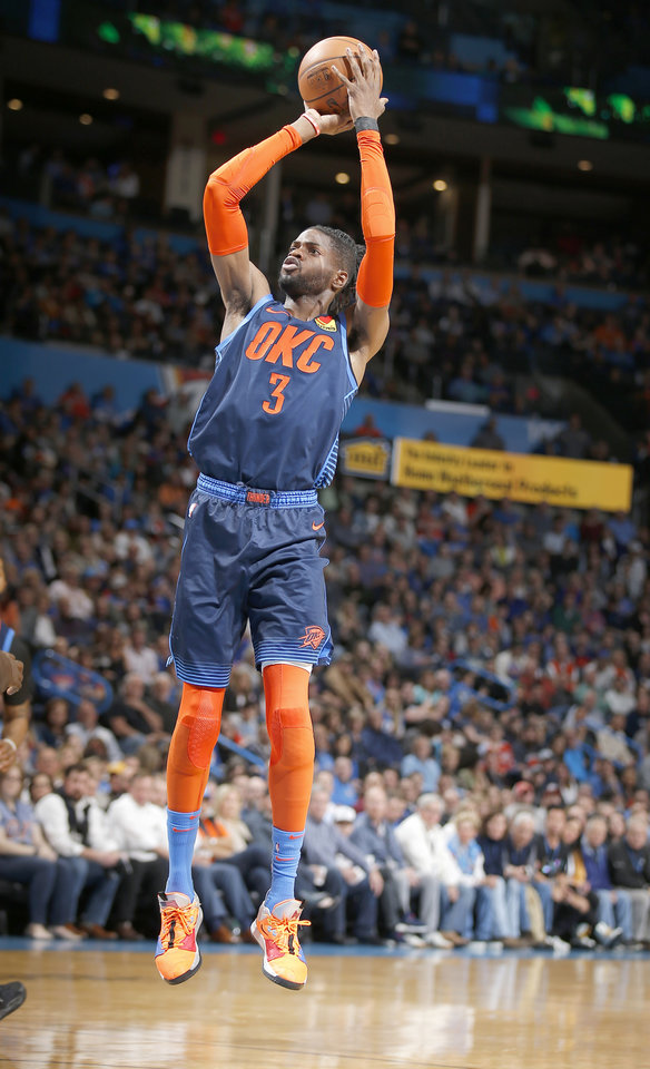 Photo - Oklahoma City's Nerlens Noel (3) shoots during the NBA basketball game between the Oklahoma City Thunder and the Toronto Raptors at the Chesapeake Energy Arena, Wednesday,March 20, 2019. Photo by Sarah Phipps, The Oklahoman