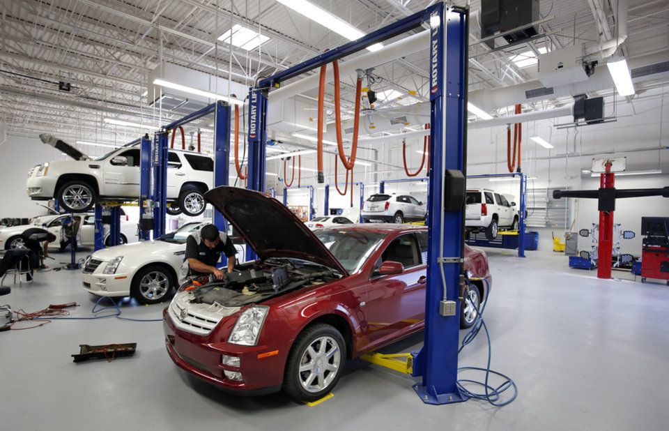The service bay is ultra modern at the new Bob Moore Cadillac on I-35 and Indian Hills Rd. on Wednesday, Nov. 28, 2012 in Norman, Okla.  Photo by Steve Sisney