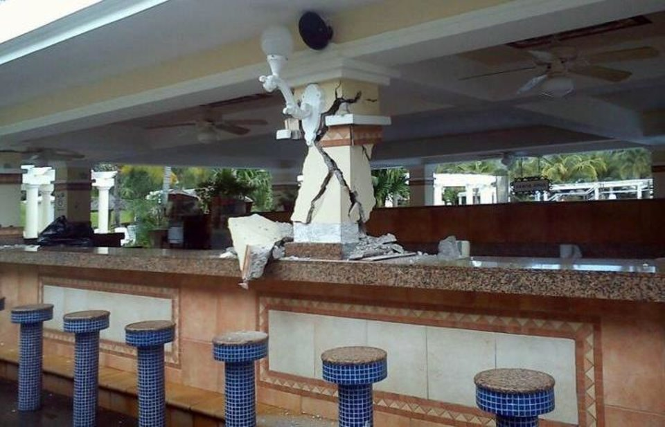 Photo -   This photo posted to the Instagram account danielacordero, belonging to a person identified as Daniela Cordero, a bar is damaged inside the Hotel Riu after an earthquake in Guanacaste, Costa Rica, Wednesday, Sept. 5, 2012. A powerful, magnitude-7.6 earthquake shook Costa Rica and a wide swath of Central America on Wednesday. (AP Photo/Daniela Cordero via Instagram)
