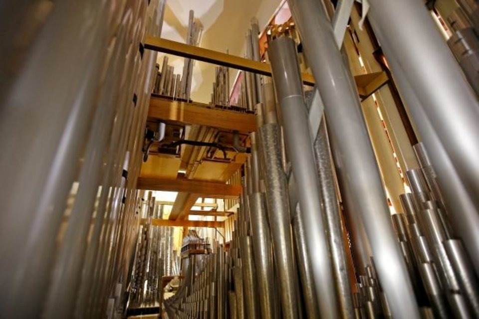 Photo -  This photo shows the pipes of the historic organ at First Baptist Church of Oklahoma City. [Bryan Terry/The Oklahoman]