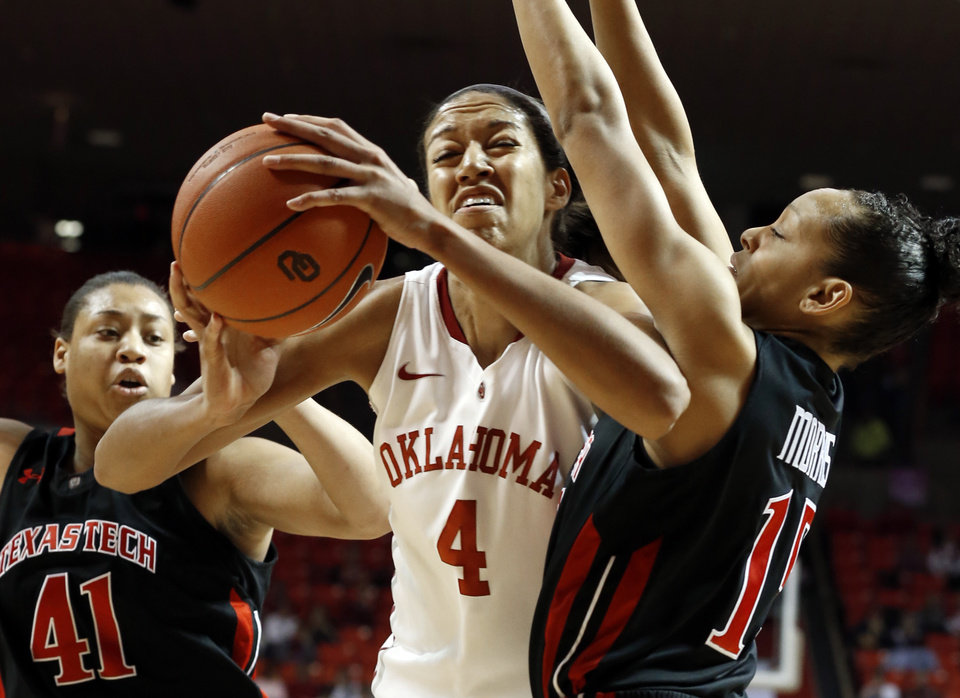 Oklahoma Sooners\' Nicole Griffin (4) goes inside against Tech\'s Kelsi Baker (41) and Casey Morris (15) as the University of Oklahoma Sooners (OU) play the Texas Tech Lady Red Raiders in NCAA, women\'s college basketball at The Lloyd Noble Center on Saturday, Jan. 12, 2013 in Norman, Okla. Photo by Steve Sisney, The Oklahoman