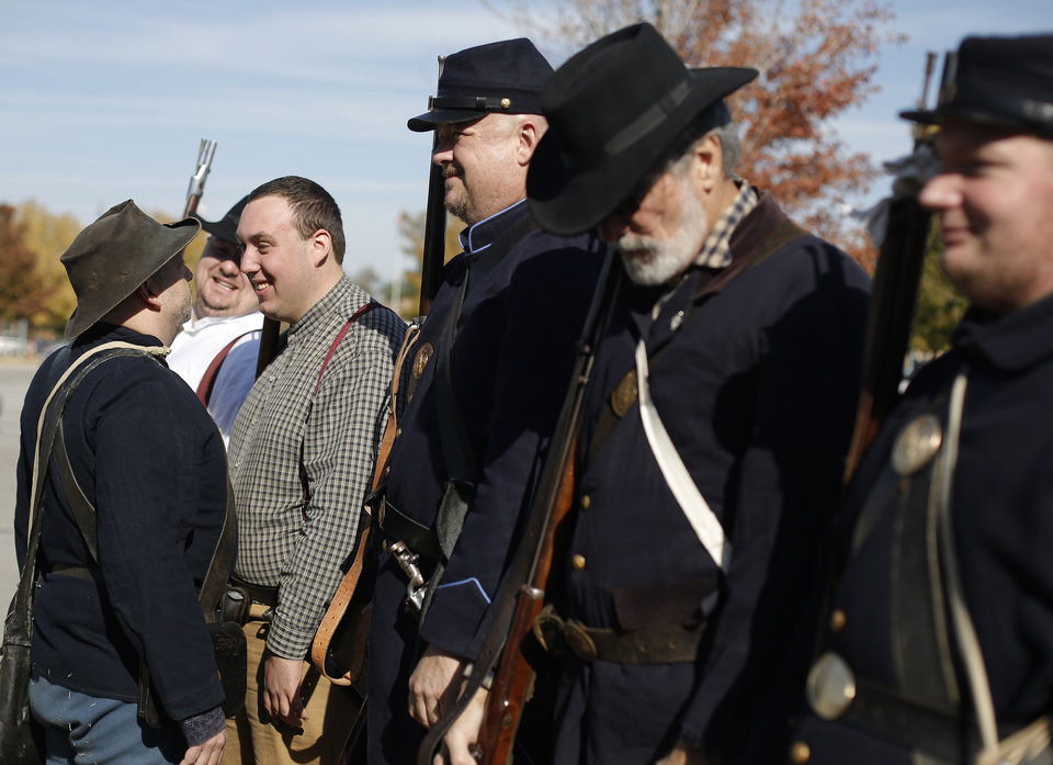 Civil War living historians line up for drills Saturday during an Oklahoma military heritage presentation at the Oklahoma History Center.  Photo by Garett Fisbeck, The Oklahoman <strong>GARETT FISBECK - GARETT FISBECK</strong>