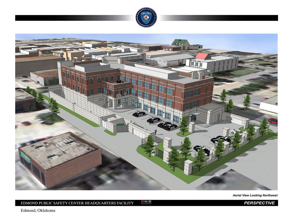 Photo - The south side of the city's new public safety center to be constructed in downtown Edmond. The ally on the south side of the building will be closed and secured with gates. Officials expect construction to start July 1. ARCHITECT DRAWINGPROVIDED. FRANKFURT SHORT BRUZA.  PROVIDED
