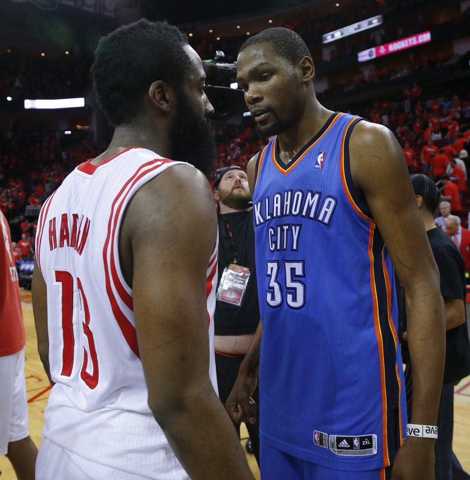 Oklahoma City\'s Kevin Durant (35) talks with Houston\'s James Harden (13) after Game 6 in the first round of the NBA playoffs between the Oklahoma City Thunder and the Houston Rockets at the Toyota Center in Houston, Texas, Friday, May 3, 2013. Oklahoma City won 103-94. Photo by Bryan Terry, The Oklahoman