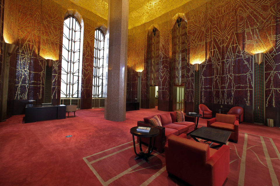 "Photo - This March 21, 2014 photo shows  the work of Art Deco muralist Hildreth Meiere in the glass mosaic Banking Room at One Wall Street in New York.  While Meiere's name has been largely forgotten her works abound throughout the country. ""The Art Deco Murals of Hildreth Meiere,"