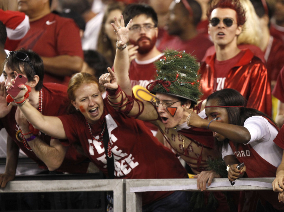Stanford fans cheer on their team prior to the Fiesta Bowl NCAA college football game against Oklahoma State, Monday, Jan. 2, 2012, in Glendale, Ariz. (AP Photo/Paul Connors)