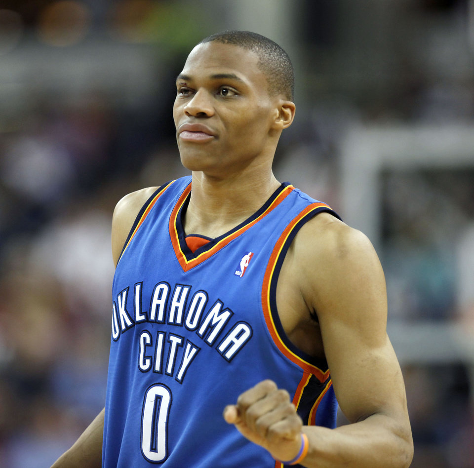 Photo - Oklahoma City Thunder guard Russell Westbrook returns to the game with stitches over his right eye after being injured during the second half of an NBA basketball game against the Sacramento Kings in Sacramento, Calif., Sunday, March 7, 2010. The Thunder won 108-102. (AP Photo/Steve Yeater) ORG XMIT: SCA108