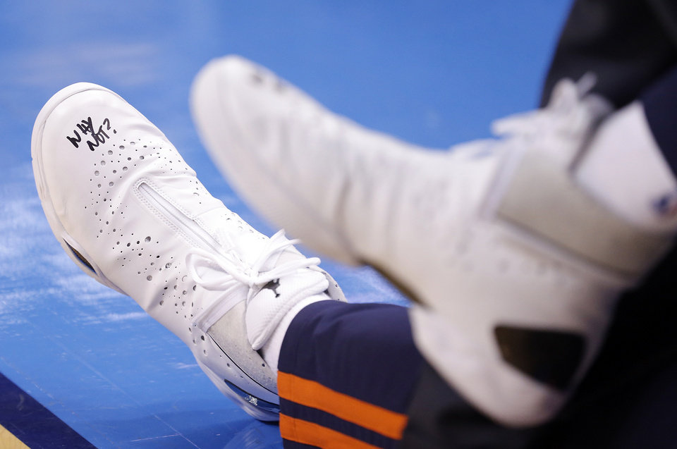 Photo - Russell Westbrook's shoes during Game 2 in the first round of the NBA playoffs between the Oklahoma City Thunder and the Houston Rockets at Chesapeake Energy Arena in Oklahoma City, Wednesday, April 24, 2013. Photo by Chris Landsberger, The Oklahoman