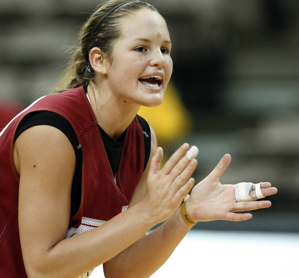 Oklahoma's Whitney Hand cheers on her teammates during practice before the first round of the 2009 NCAA Tournament. PHOTO BY STEVE SISNEY, The Oklahoman Archives
