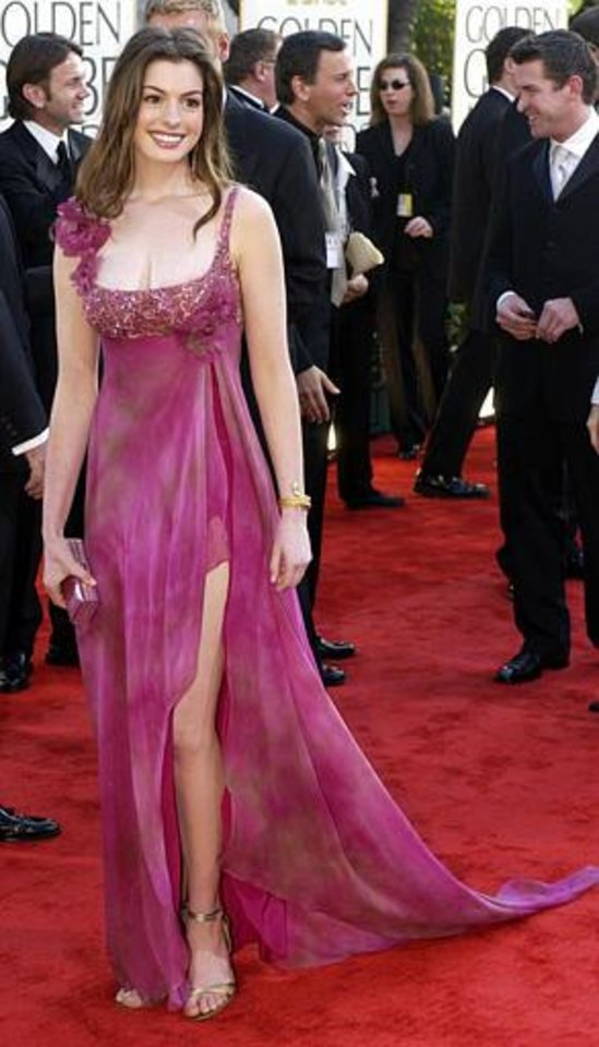 Actress Anne Hathaway arrives at the 60th annual Golden Globe Awards in Beverly Hills, Calif. Sunday, Jan. 19, 2003. (AP Photo/Mark J. Terrill)
