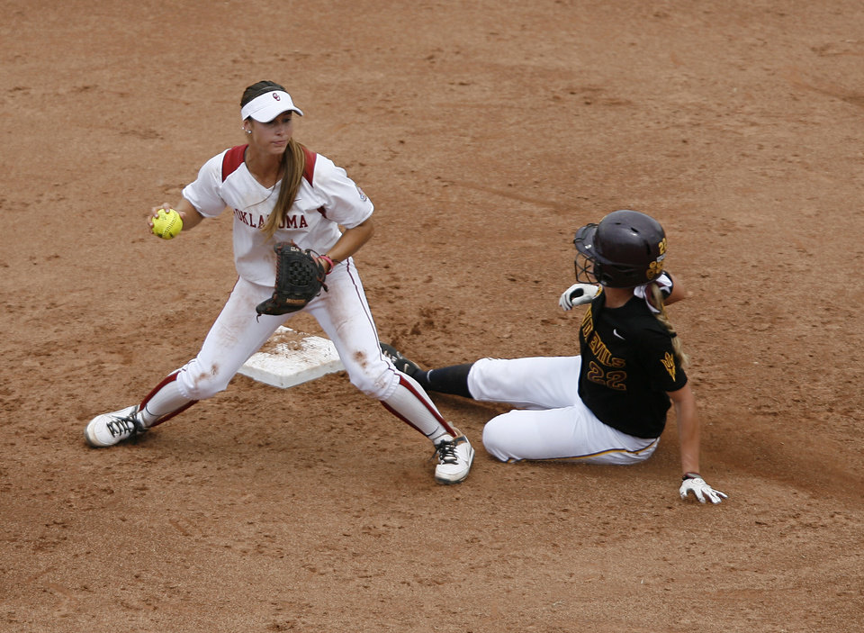 Oklahoma\'s Jessica Vest (27) tags Arizona\'s Talor Haro (22) during a Women\'s College World Series game between Oklahoma University and Arizona State University at ASA Hall of Fame Stadium in Oklahoma City, Sunday, June 3, 2012. Photo by Garett Fisbeck, The Oklahoman