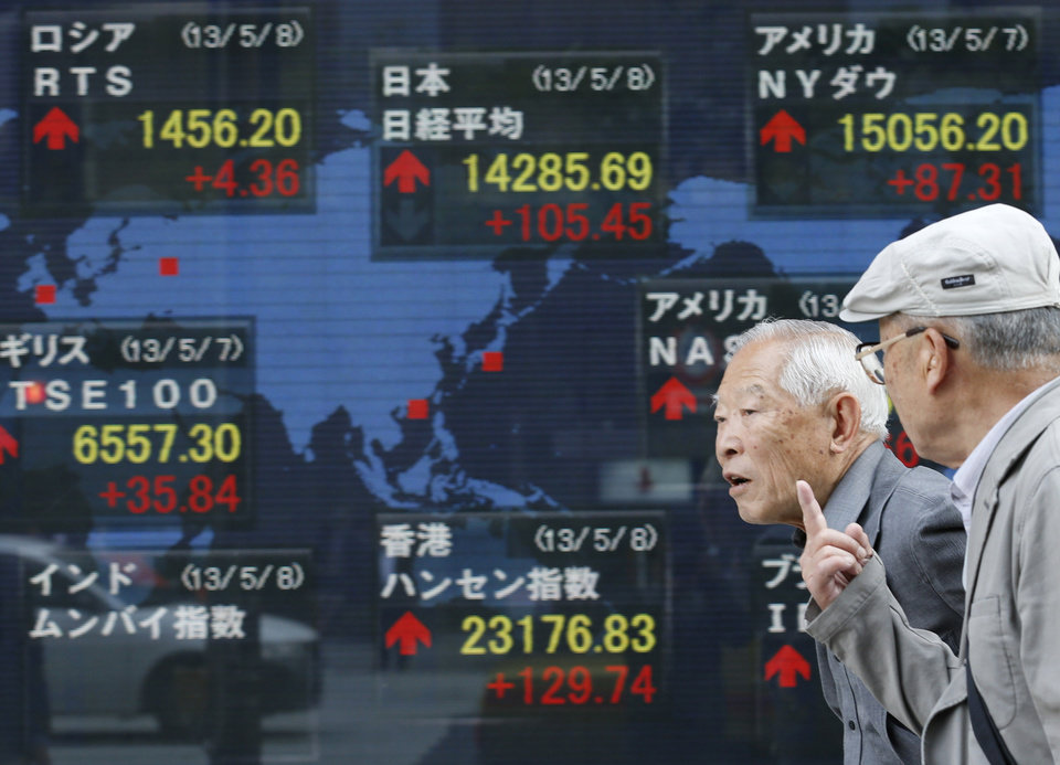 Photo - Passers-by talk each other in front of an electronic stock board of a securities firm in Tokyo, Wednesday, April 8, 2013. Japan's Nikkei 225 index rose 105.45 points to 14,285.69 Wednesday as Asian stock markets were powered higher by an improvement in China's trade and yet another record-busting session on Wall Street. (AP Photo/Koji Sasahara)