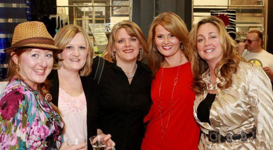 SURPRISING BLAKE...Mara Porter, Kim Funderburk, Glenda Gatz, Suzy Gibson and Jennifer Hays pose for photos at Blake Gibson's 45th birthday party. (Photo provided).