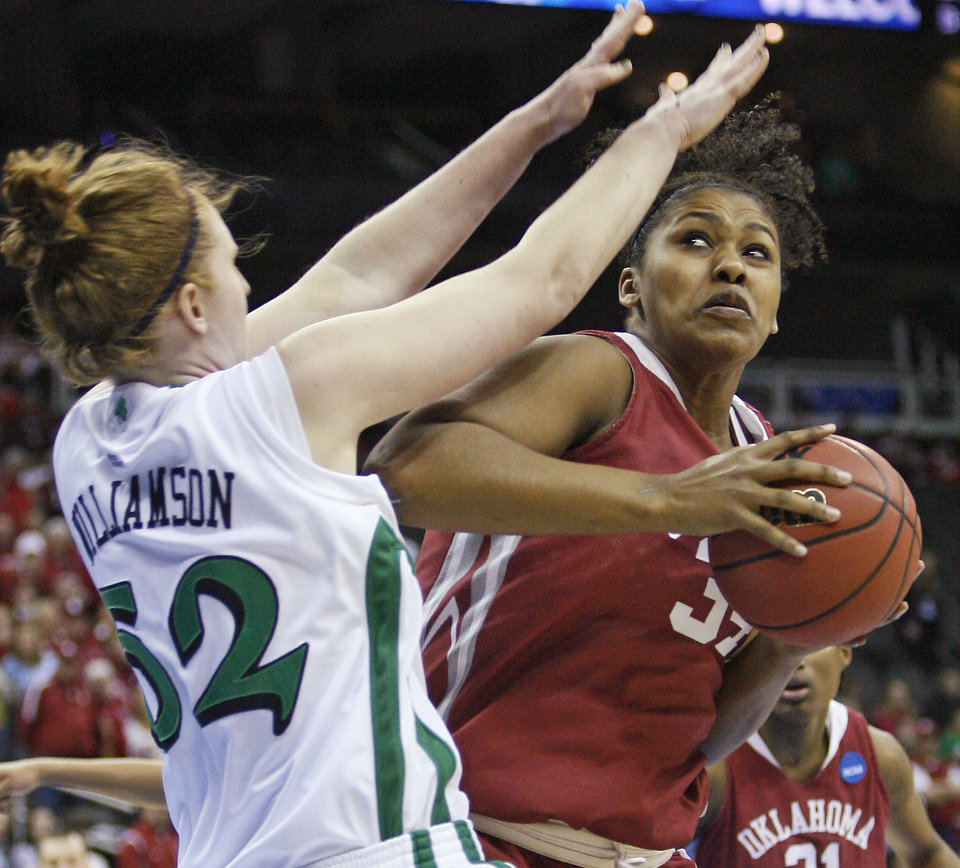 OU's Abi Olajuwon tries to get around Notre Dame's Erica Williamson as she shoots the ball during the Sweet 16 round of the NCAA women's  basketball tournament in Kansas City, Mo., on Sunday, March 28, 2010. 