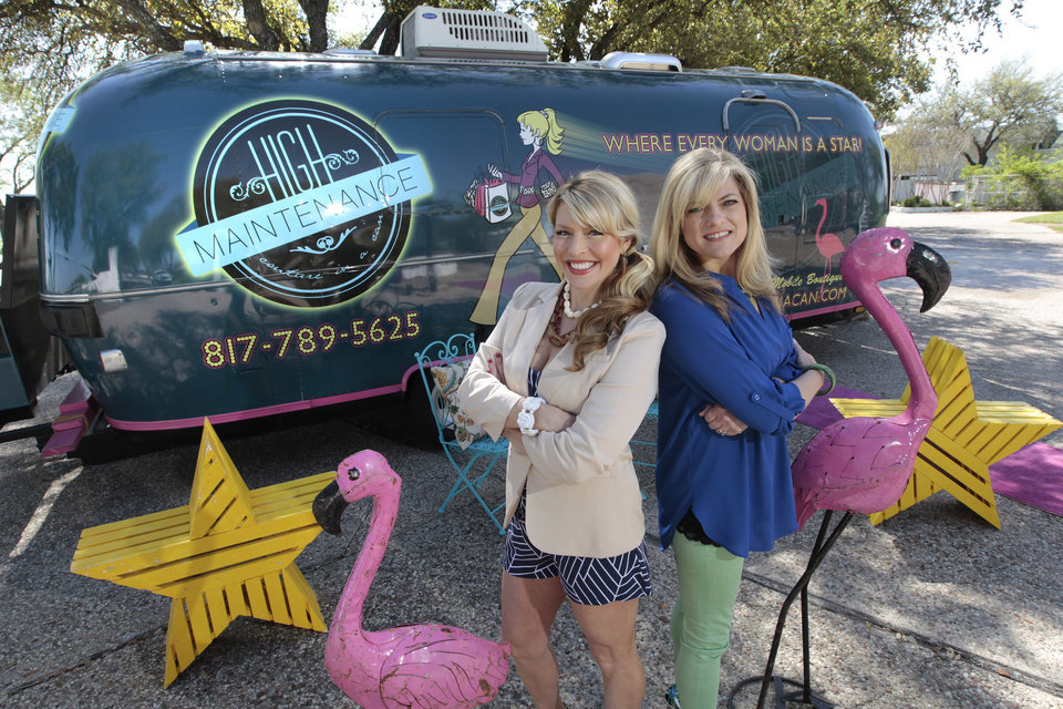 Photo - Rosie Dalton, left, and Sande Brandt have started a boutique on wheels, Couture in a Can, in a specially outfitted Airstream travel trailer, March 11, 2013, in Fort Worth, Texas. (Ron T. Ennis/Fort Worth Star-Telegram/MCT)