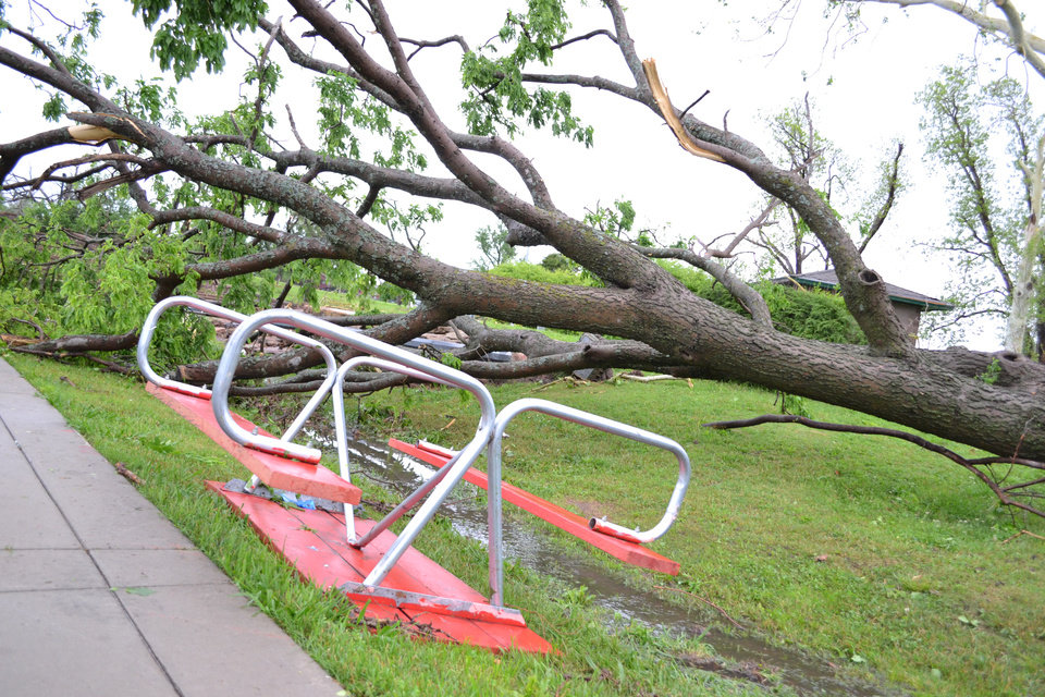 Photo - Damage at Andrews Park, 201 W. Daws in Norman on April 13, 2012. Photo by Carmen Forman.