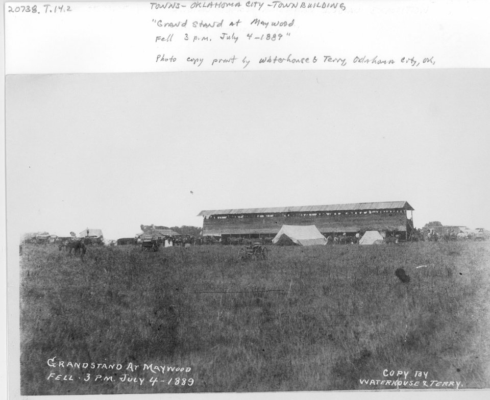 Photo - The territorial fairgrounds grandstand is shown shortly before it collapsed during July 4, 1889 celebrations. Dozens if not hundreds were injured, and one boy was killed.  Courtesy of the Oklahoma Historical Society