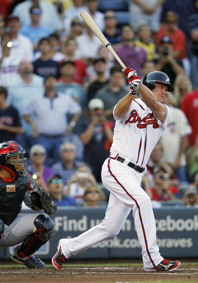 Photo -   Atlanta Braves' Chipper Jones, right, strikes out at his first at-bat during the second inning of the National League wild card playoff baseball game against the St. Louis Cardinals, Friday, Oct. 5, 2012, in Atlanta. (AP Photo/John Bazemore)