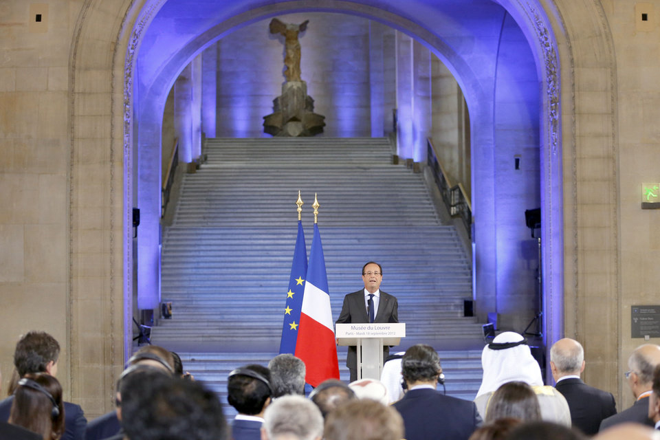 Photo -   French President Francois Hollande delivers a speech during the official opening ceremony of the new Department of Islamic Arts at the Louvre museum, in Paris, Tuesday, Sept. 18, 2012. The new Louvre department is the largest of its kind in Europe, with 3,000 artifacts on display, gathered from Spain to India and dating back to the seventh century AD. (AP Photo/Pierre Verdy, Pool)