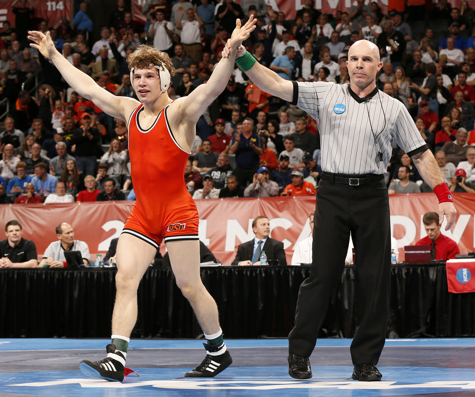 Photo - OSU's Alex Dieringer reacts after winning the championship at 157 pounds in the 2014 NCAA Div. I Wrestling Championships at Chesapeake Energy Arena in Oklahoma City, Saturday, March 22, 2014. Photo by Nate Billings, The Oklahoman