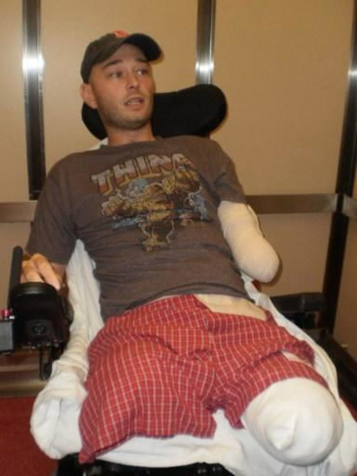 This photo was taken about 4 months after Rusty Dunagan lost his legs and one arm to an explosion in Afghanistan. PHOTO PROVIDED
