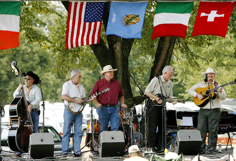Photo - The Byron Berline Band, pictured here at the International Bluegrass Festival in Guthrie in 2008, recently performed at the Armstrong Auditorium in Edmond. PHOTO BY JIM BECKEL, THE OKLAHOMAN.  Jim Beckel