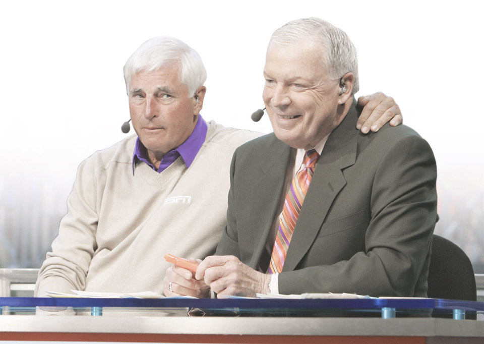 Photo - Bob Knight, left, shown with Digger Phelps, will broadcast games as well as work in the studio. PHOTO PROVIDED