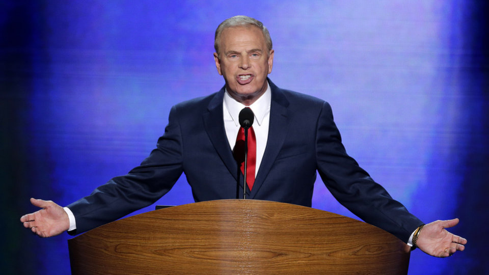 Photo - Former Ohio Gov. Ted Strickland addresses the Democratic National Convention in Charlotte, N.C., on Tuesday, Sept. 4, 2012. (AP Photo/J. Scott Applewhite)  ORG XMIT: DNC163