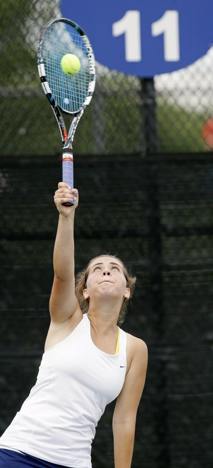 Heritage Hall\'s Jessica Borsky serves in a Class 5A #1 Doubles match during the girls state high school tennis tournament at the Oklahoma City Tennis Center in Oklahoma City, Friday, May 4, 2012. Photo by Nate Billings, The Oklahoman