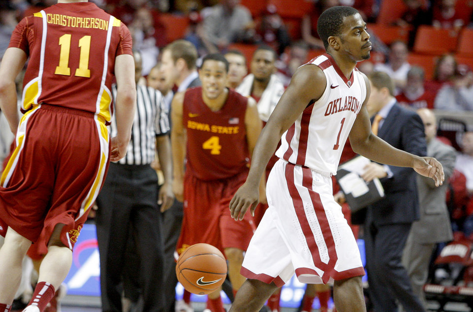 Oklahoma's Sam Grooms (1) walks towards the bench during a time out in an NCAA basketball game between the University of Oklahoma Sooners (OU) and the Iowa State Cyclones (ISU) at the Lloyd Noble Center in Norman, Saturday, Feb. 4, 2012. Photo by Bryan Terry, The Oklahoman