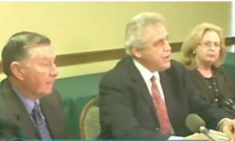 Larry Jones, attorney Gary Richardson, and Frances Jones are seen today in this image from NewsOK.com video.