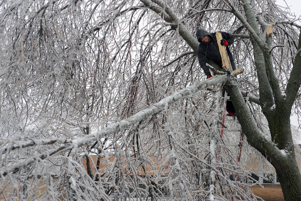 Photo - Sam Harwood removes a limb from a tree that had fallen from the freezing rain and snow near 14th Street, Wednesday, April 10, 2013 in Sioux Falls, S.D. (AP Photo/Argus Leader, Jay Pickthorn) NO SALES