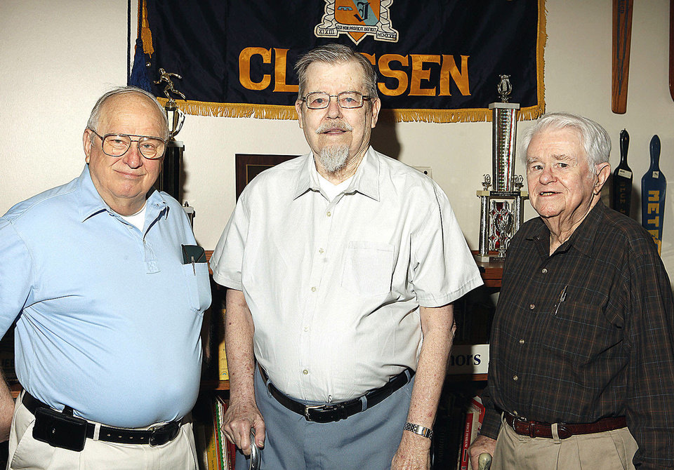 Photo - Classen High School alumni James Thomas, class of 50, Jim Kyle, class of 48, and John Shannon, class of 44, at the Classen Museum in Oklahoma City Thursday, May 9, 2013.  Photo by Paul B. Southerland, The Oklahoman