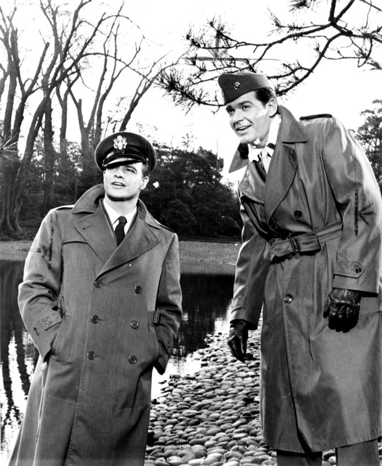 "Photo - ACTOR: Marlon Brando, left, and James Garner not only worked together as buddies in Warner Bros.' ""Sayonara,"" but while in Japan to film the James Michener East-West love story, the two stars became close off-screen pals. (Received in library 12/12/1957)"