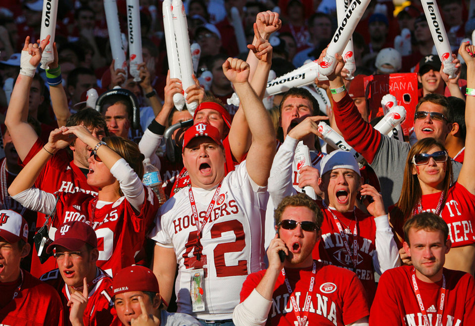 Photo - Indiana fans cheer on their Hoosiers in the first half during the Insight Bowl college football game between Oklahoma State University (OSU) and the Indiana University Hoosiers (IU) at Sun Devil Stadium on Monday, Dec. 31, 2007, in Tempe, Ariz. 