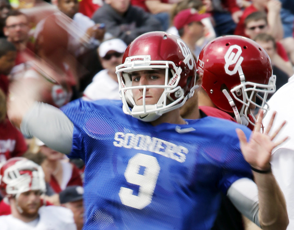 Photo - Trevor Knight (9) warms up before the annual Spring Football Game at Gaylord Family-Oklahoma Memorial Stadium in Norman, Okla., on Saturday, April 13, 2013. Photo by Steve Sisney, The Oklahoman